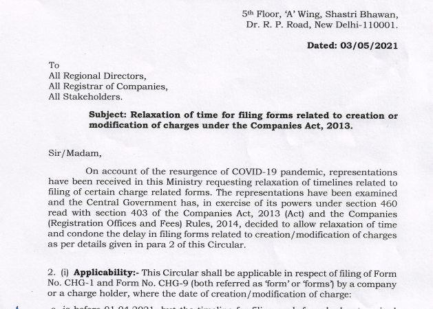 Relaxation of time for filing forms related to charges