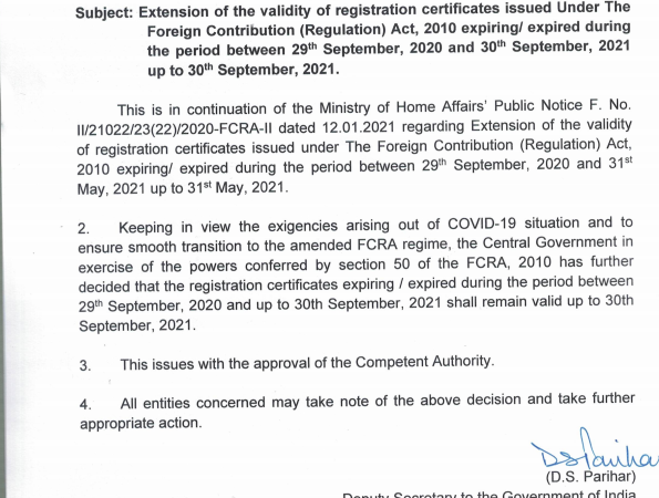 Validity of registration certificates issued Under FCRA