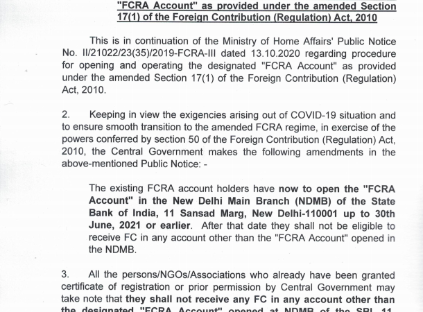 """Procedure for opening and operating the """"FCRA Account"""""""