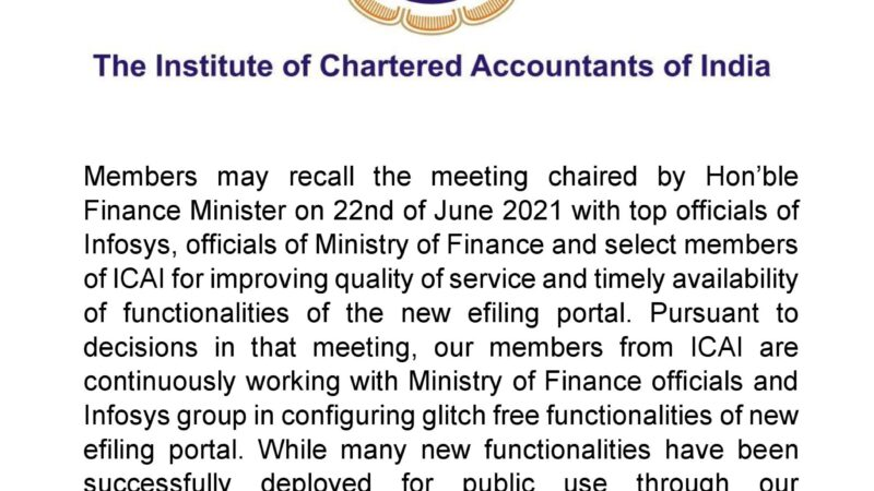 Update on Income tax portal by ICAI