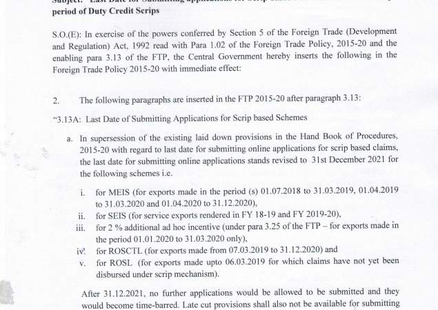Validity period of Duty Credit Scrips- Notification No. 26/2015-20