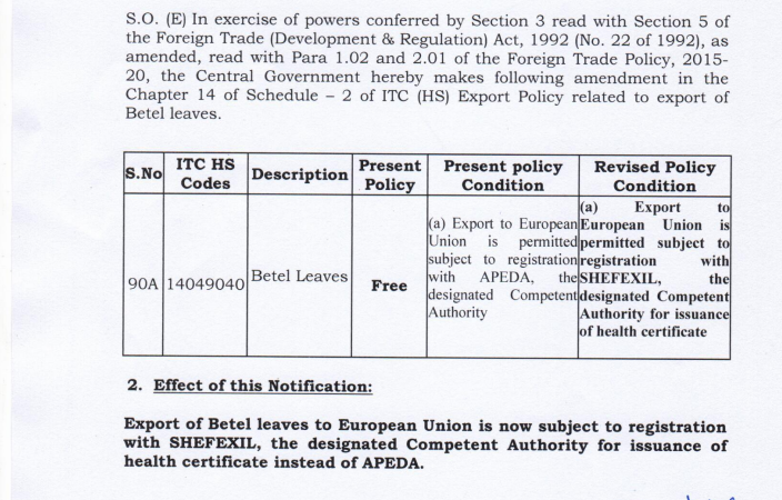 Export of Betel Leaves is subject to registration with SHEFEXIL