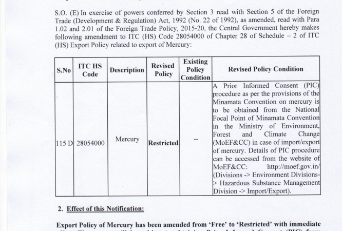 Amendment in export policy and insertion of policy condition