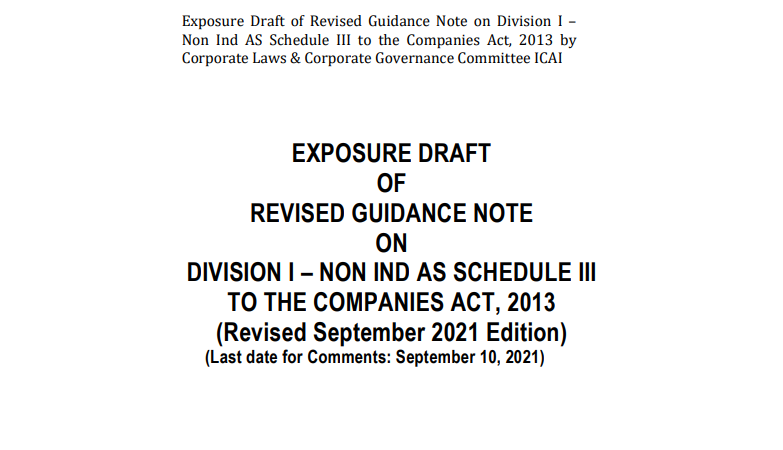 Draft of Guidance Note on Division I-Non IND AS Schedule III