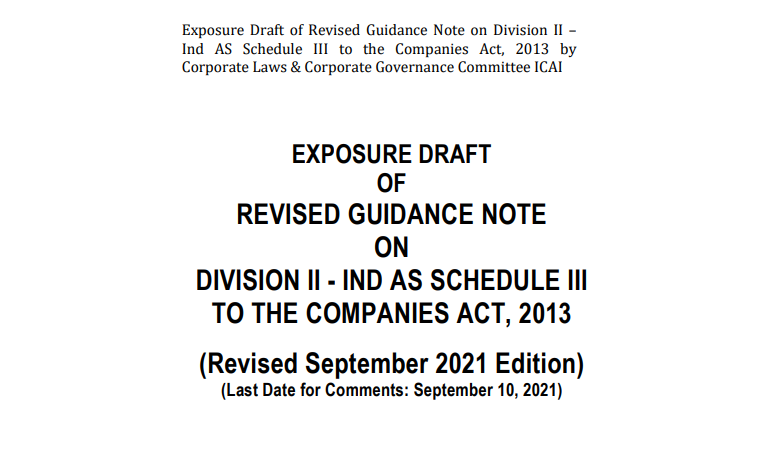 Draft of Guidance Note on Division II – Ind AS Schedule III
