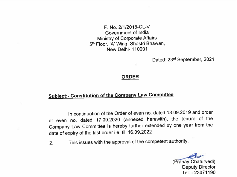 Extension of period of the Company Law Committee