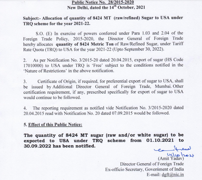 Allocation of the quantity of 8424 MT Sugar to USA