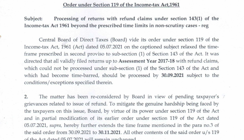 Processing of returns claims under section 143(1) of Income-tax