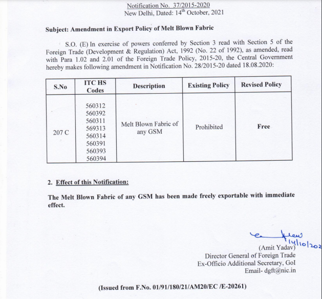 Amendment in Export Policy of Melt Blown Fabric