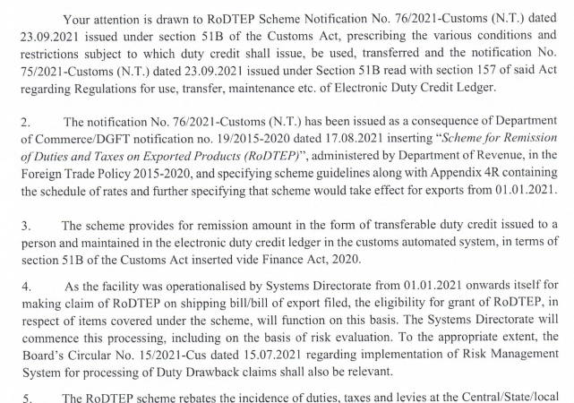 Scheme for remission of duties and taxes on exported products