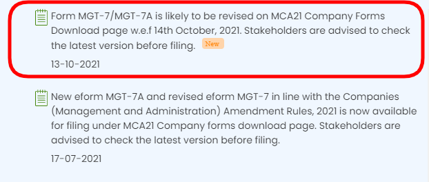 Form MGT-7/MGT-7A is likely to be revised on MCA21
